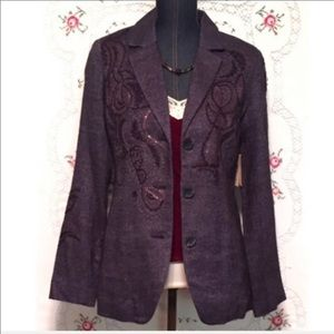 Coldwater Creek Size 4 Embroidered NWT Jacket